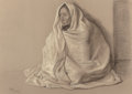 Fine Art - Work on Paper:Drawing, Francisco Zúñiga (1912-1998). Silvia con rebozo, 1978.Charcoal and pastel on Ingres Fabriano. 19-3/4 x 27-5/8 inches(5...