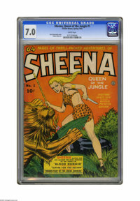 Sheena, Queen of the Jungle #1 (Fiction House, 1942) CGC FN/VF 7.0 White pages. Sheena gets her own title, and hits the...