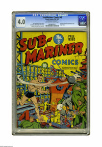 Sub-Mariner Comics #3 (Timely, 1941) CGC VG 4.0 Off-white to white pages. Some Axis types are trying to assassinate Wins...