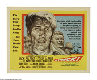 "Attack! (United Artists, 1956). Half Sheet (22"" X 28""). ""If you put me and my men in a wringer -- I'll co..."
