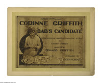 "Bab's Candidate (Vitagraph, 1920). Title Lobby Card (11"" X 14""). ""Babs"" Marvin (Corinne Griffith) th..."