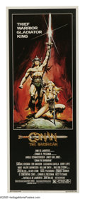 "Movie Posters:Action, Conan the Barbarian (Universal, 1982). Insert (14"" X 36""). ArnoldSchwarzenegger stars as Conan, a warrior who is out to see..."