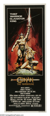 "Conan the Barbarian (Universal, 1982). Insert (14"" X 36""). Arnold Schwarzenegger stars as Conan, a warrior who..."