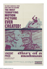 """Diary of a Madman (Admiral Pictures, 1963). One Sheet (27"""" X 41""""). Vincent Price is a heartless judge in 18th..."""