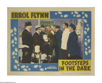 "Footsteps in the Dark (Warner Brothers - First National, 1941). Lobby Card (11"" X 14""). Errol Flynn portrays a..."