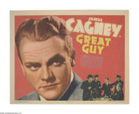 """Great Guy (Grand National, 1936). Title Lobby Card (11"""" X 14""""). James Cagney broke off his contract with Warne..."""