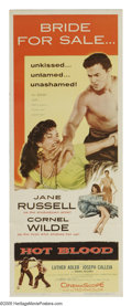 """Movie Posters:Drama, Hot Blood (Columbia, 1956). Insert (14"""" X 36""""). """"Jane Russell shakes her tamborines and drives Cornel Wilde!"""" Russell is Ann..."""