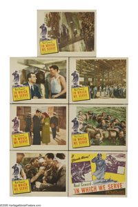 "In Which We Serve (Gaumont, 1942). Title Lobby Card (11"" X 14"") and Lobby Cards (6) (11"" X 14""). Noe..."