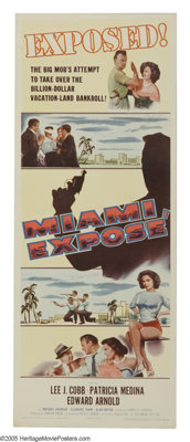 """Miami Expose (Columbia, 1956). Insert (14"""" X 36""""). Lee J. Cobb is a hard-nosed police detective trying to brin..."""
