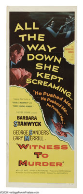 """Witness to Murder (United Artists, 1954). Insert (14"""" X 36""""). Barbara Stanwyck sees a murder committed, but is..."""
