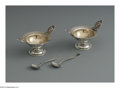 Silver Holloware, American:Open Salts, A Pair Of American Silver Open Salts And Spoons. Marks of AlbertColes, New York, NY; and Dominick & Haff, New York, NY, Mid...(Total: 4 Items)