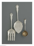 Silver Flatware, American:Dominick & Haff, An American Silver Flat Server, Asparagus Server and Sugar SifterMark of Dominick & Haff, New York, NY, c.1892 The trio... (3Items)