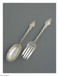 Silver Flatware, American:Durgin, An American Silver Salad Spoon And Meat Fork. Mark of Durgin,Concord, NH, 1891. The 'Watteau' pattern serving pieces incl...(Total: 2 Items)