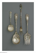 Silver & Vertu:Flatware, Four American Silver And Enamel Serving Pieces. Marks of Durgin, Concord, NH; Whiting Manufacturing Corp., Providence, RI; D... (Total: 4 Items Item)