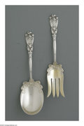 Silver Flatware, American:Durgin, An American Silver Salad Set. Mark of Durgin, Concord, NH, c.1900.The parcel gilt 'Iris' pattern set comprising a fork an... (Total:2 Items)