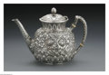 Silver Holloware, American:Tea Pots, An American Silver Teapot. Mark of Gorham, Providence, RI, LateNineteenth Century. The floral repousse teapot, hinged lid...