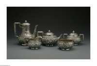 An American Silver Tea Set Mark Of Gorham, Providence, RI, Late Nineteenth Century  The set includes a water pot, tea po...