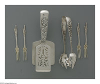 An American Silver Asparagus Server and Ice Tongs Mark of S. Kirk & Son, Baltimore, MD, c.1900  The asparagus tong w...
