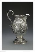 Silver Holloware, American:Pitchers, An American Silver Pitcher. Mark of S. Kirk & Son, Baltimore,MD, 1868. The repousse rose pattern footed pitcher, script m...