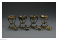 Silver Holloware, American:Open Salts, Four American Silver Open Salts. Mark of Tiffany & Co., NewYork, NY, c.1900. The matching set of four gilt tri-foot doubl...(Total: 4 Items)