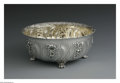 Silver Holloware, American:Bowls, An American Silver Bowl. Mark of Tiffany & Co., New York, NY,c.1895. The six pint floral repousse bowl raised on four paw...