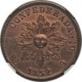 Argentina, Argentina: Cordoba. Provincial copper Pattern 4 Reales 1852 AUDetails (Surface Hairlines) NGC,...