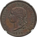 Colombia, Colombia: Republic copper Pattern 16 Pesos 1847 BOGOTA-RS AU53Brown NGC,...