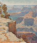 Fine Art - Work on Paper, Gunnar Mauritz Widforss (Swedish, 1879-1934). Grand Canyon,1924. Watercolor on paper laid on board. 19-3/8 x 17 inches ...