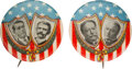 """Political:Pinback Buttons (1896-present), Wilson & Marshall and Taft & Sherman: Two Rare and Colorful 1 1/4"""" 1912 Jugate Buttons...."""