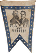 Political:Textile Display (pre-1896), Hayes & Wheeler: An Important and Probably Unique 1876 JugateCloth Banner....