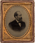 Political:Ferrotypes / Photo Badges (pre-1896), James A. Garfield: Distinctive Quarter Plate Tintype. ...