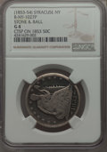 Counterstamps, 1853 50C -- 1853-54 Stone & Ball Counterstamp -- Good 4 NGC. Syracuse NY, R-NY-1027P....