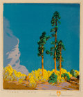Gustave Baumann (German/American, 1881-1971) Three Pines Woodcut in colors 10-3/4 x 9-1/2 inches