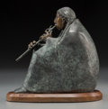 Fine Art - Sculpture, American, Allan C. Houser (American, 1914-1994). Flute Player, 1994.Bronze with green and brown patina. 9 inches (22.9 cm) high o...