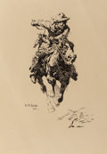 Fine Art - Work on Paper, William Robinson Leigh (American, 1866-1955). Study for TheStampede, 1914. Ink on board. 14-1/8 x 9-1/2 inches (35.9 x ...