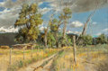 Fine Art - Painting, American, Clark Hulings (American, 1922-2011). Broken Cottonwoods --Taos, 1980. Oil on canvas. 14 x 21 inches (35.6 x 53.3 cm).S...