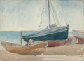 Fine Art - Work on Paper, George Copeland Ault (American, 1891-1948). Boats on Beach,1921. Watercolor and pencil on paper. 11 x 15-1/2 inches (27...