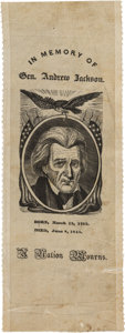 Political:Memorial (1800-present), Andrew Jackson: A Large, Unusual 1845 Silk Mourning Ribbon. ...