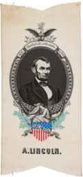 Political:Memorial (1800-present), Abraham Lincoln: Most Impressive Huge Woven Mourning Ribbon. ...