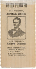 "Political:Ribbons & Badges, Lincoln & Johnson: A Fantastic Example of the Classic 1864 ""Peace Commissioners"" Ribbon. ..."