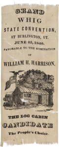 Political:Ribbons & Badges, William Henry Harrison: One-Day Event Vermont Ribbon....