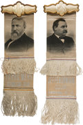 Political:Ribbons & Badges, Benjamin Harrison and Grover Cleveland: Matching Satin Ribbon Badges....