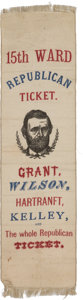 Political:Ribbons & Badges, Grant & Wilson: A Terrific 1872 Red, White, and Blue Campaign Ribbon from Pennsylvania. ...