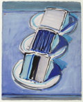 Works on Paper, Wayne Thiebaud (b. 1920). Three Cake Slices, 2008. Watercolor and brush with black ink on paper. 11-1/4 x 9-1/8 inches (...