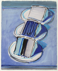 Wayne Thiebaud (b. 1920) Three Cake Slices, 2008 Watercolor and brush with black ink on paper 11-