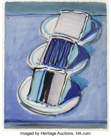 Wayne Thiebaud (b. 1920)Three Cake Slices, 2008Watercolor and brush with black ink on paper11-1/4 x 9-1/8 inches (...