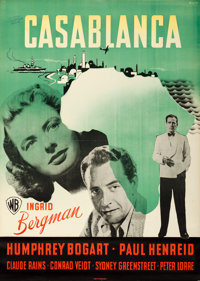 "Casablanca (Warner Brothers, 1946). First Post-War Release Danish Poster (24"" X 33.5""). Benny Stilling Artwork..."