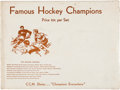 """Hockey Collectibles:Others, 1936 CCM Skates """"Famous Hockey Champions"""" Complete Premium Set with Original Mailer...."""