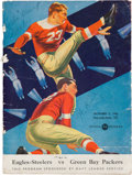 Football Collectibles:Programs, 1943 Steagles vs. Green Bay Packers Team Signed (Steagles) Program - With Kiesling, Neal, Hewitt, etc....