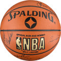 Basketball Collectibles:Balls, 1990-91 Chicago Bulls Team-Signed Leather NBA Basketball - 1stChampionship Season! ...